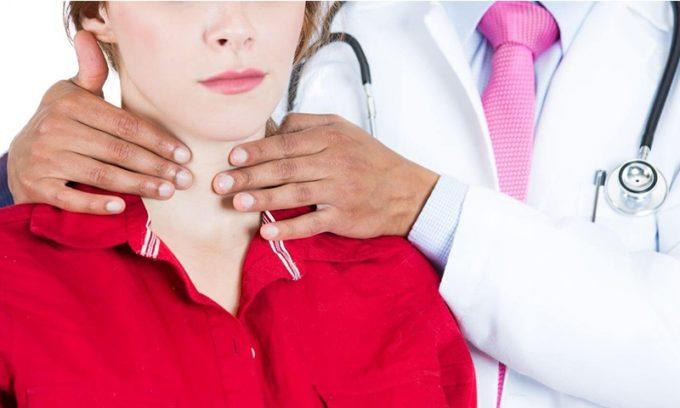 Положение, когда больной сидит спиной к врачу с наклоненной головой вперед и вниз, позволяет наилучшим образом проводить прощупывание щитовидки